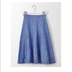 Boden Linen Cora Chambray Midi Skirt